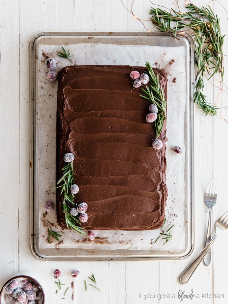 chocolate sheet cake with chocolate frosting garnished with sugared cranberries and rosemary sprigs for christmas