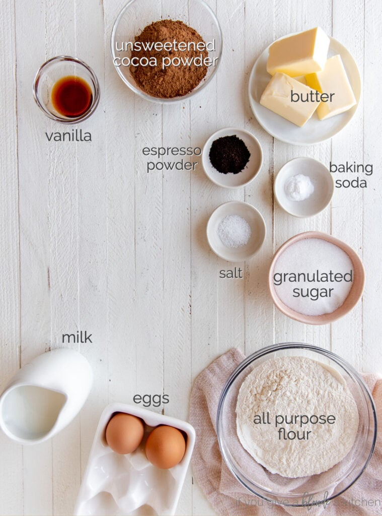 chocolate sheet cake ingredients labeled with text