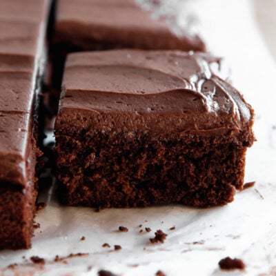 chocolate sheet cake square with chocolate frosting