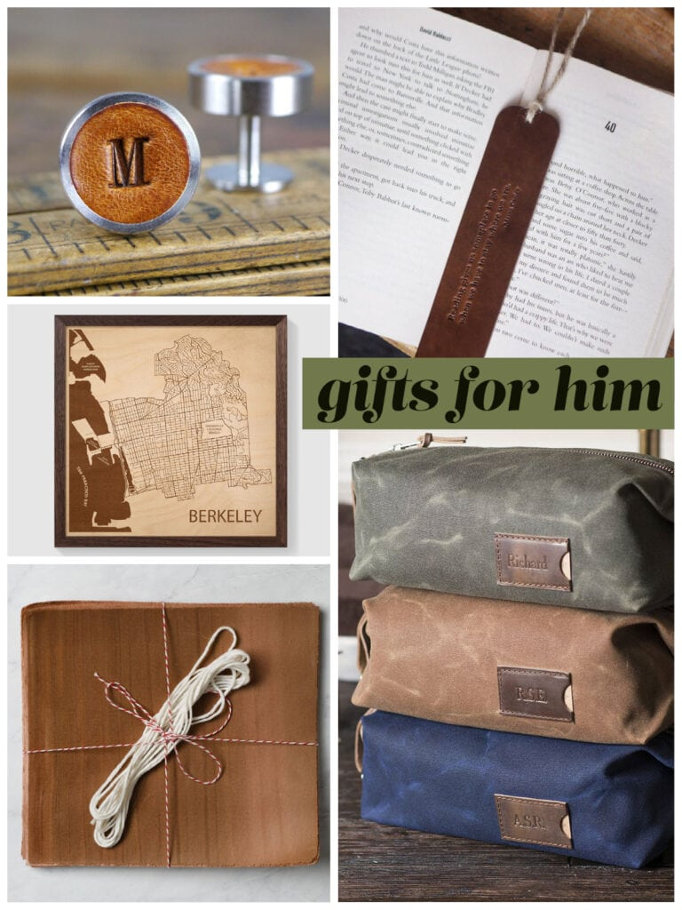 photo collage of gifts for him