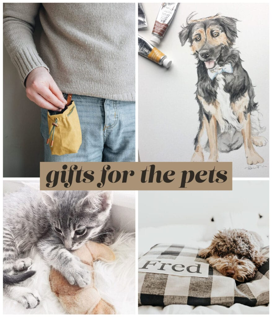 photo collage of gifts for the pets