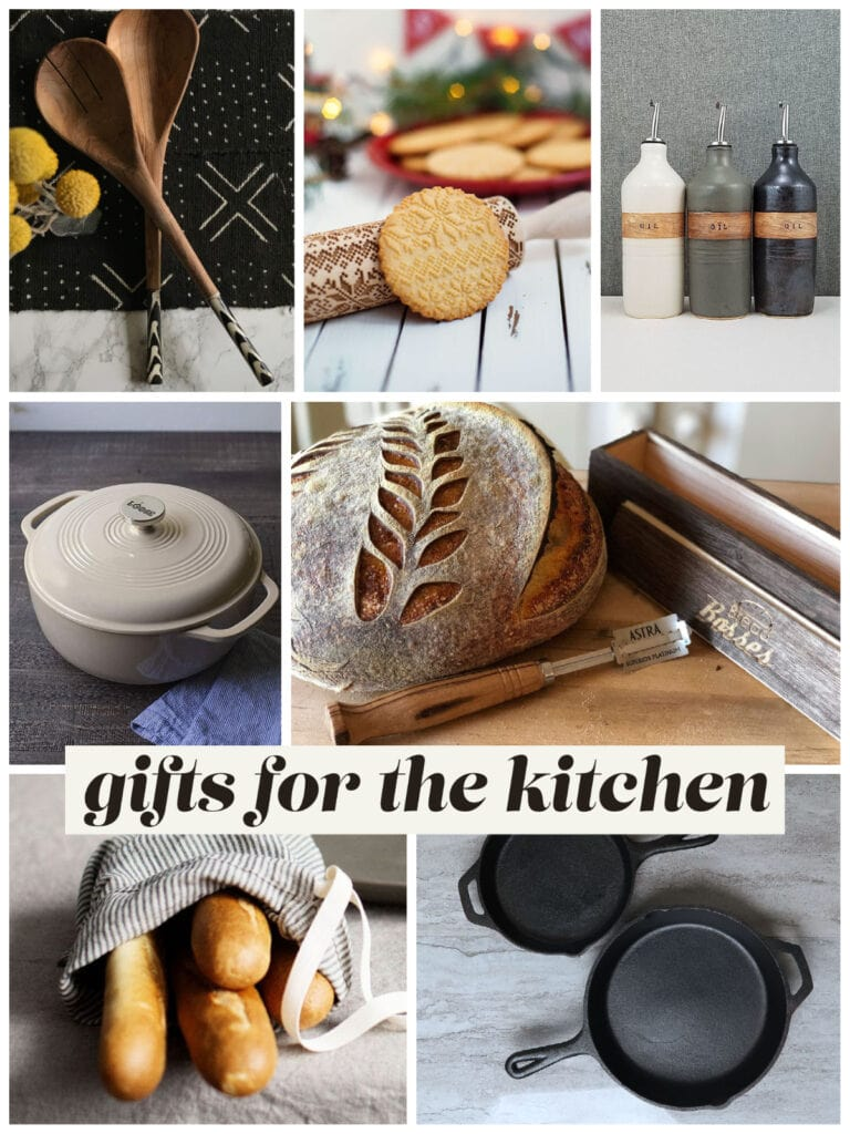 gift guide photo collage of kitchen items