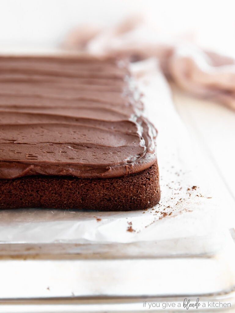 chocolate cake with layer of chocolate buttercream frosting on top