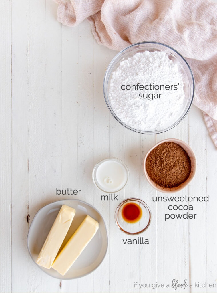 chocolate buttercream frosting ingredients in bowls with text