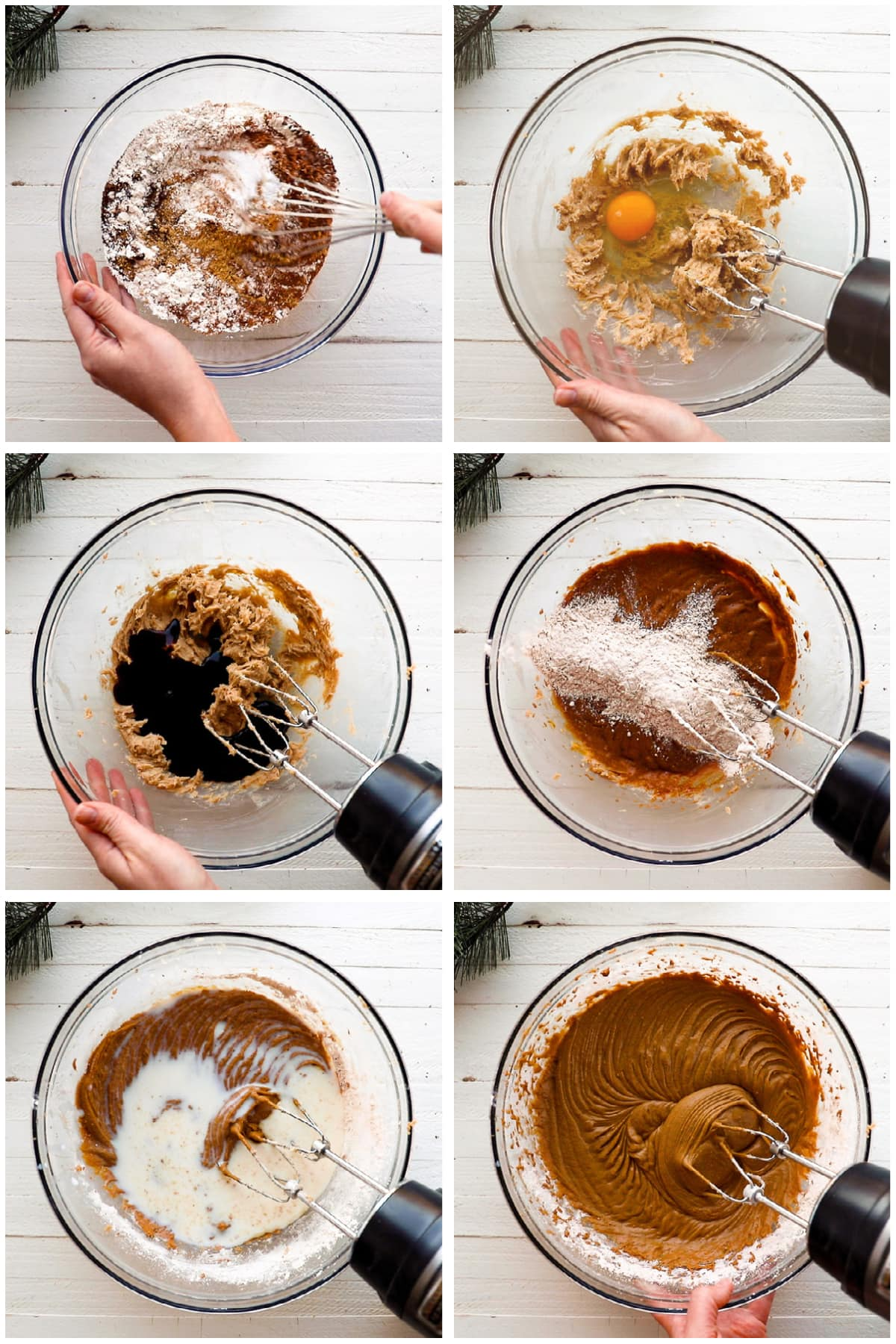 photo collage demonstrating how to make batter for a gingerbread loaf