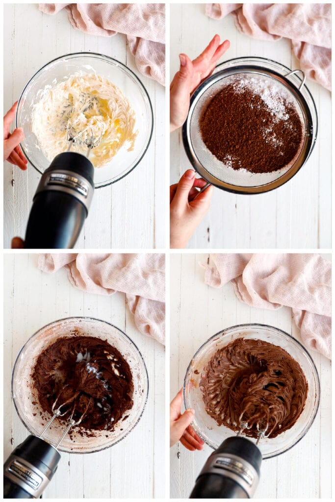 photo collage demonstrating how to make chocolate buttercream frosting from scratch