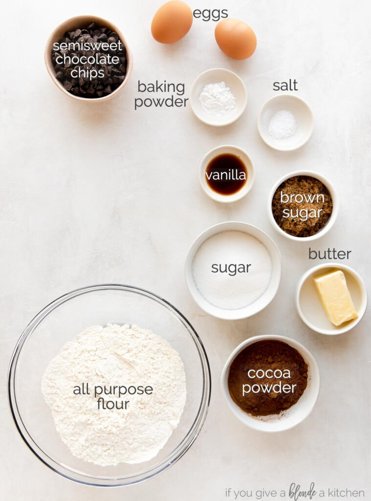 chocolate biscotti ingredients labeled with text