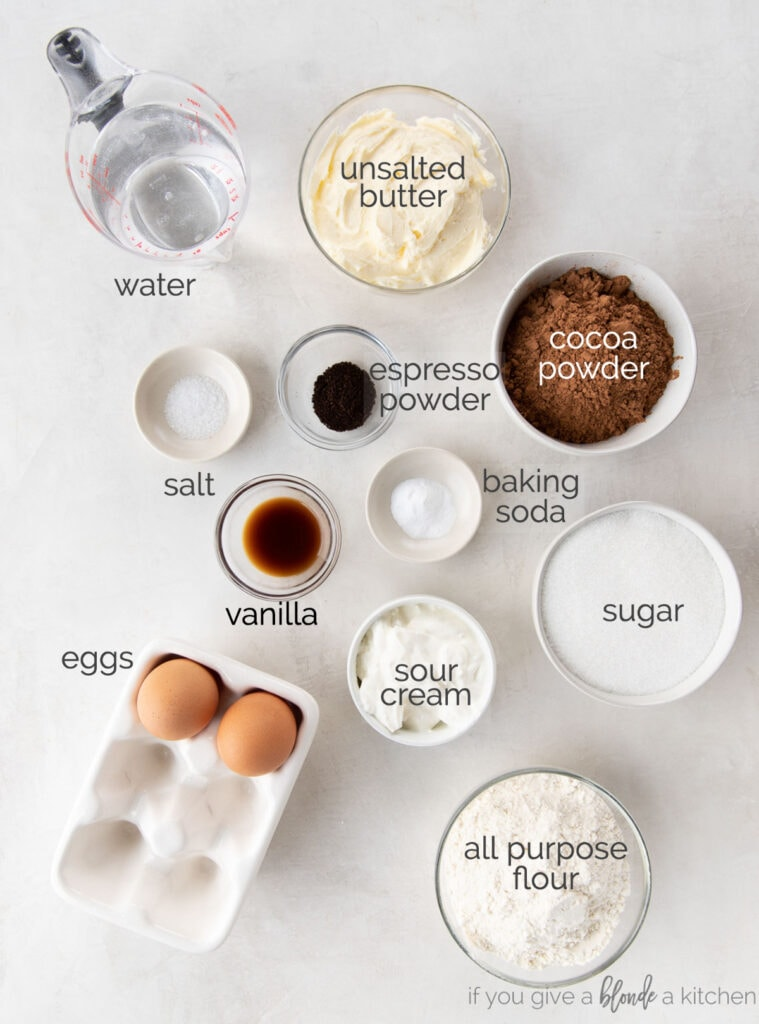 chocolate cupcake ingredients in bowls