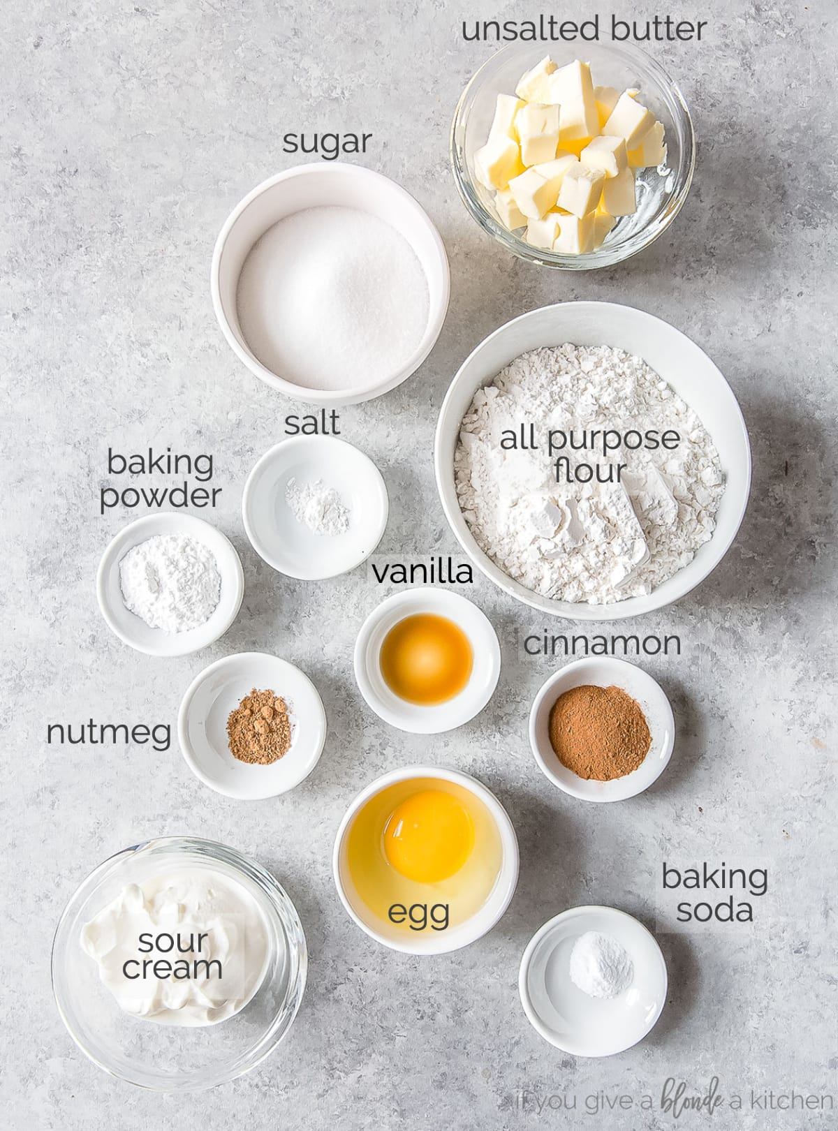 cinnamon scones ingredients in bowls with text
