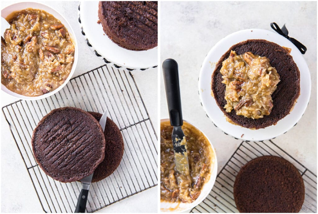 two photo collage demonstrating how to assemble a german chocolate cake with coconut pecan filling