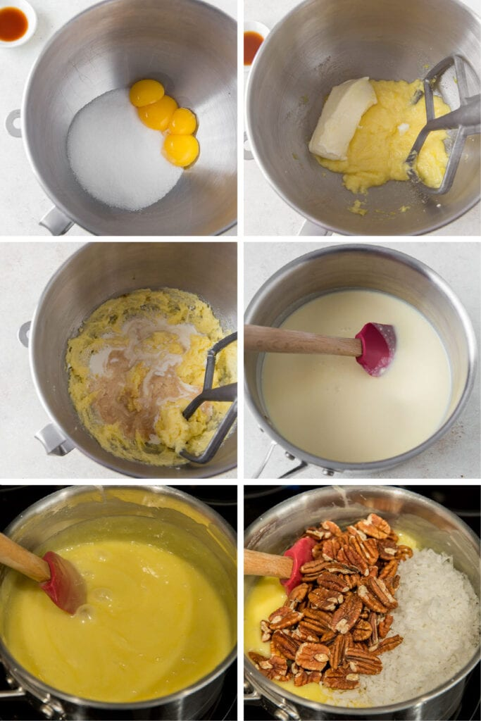photo collage demonstrating how to make coconut pecan filling for german chocolate cake