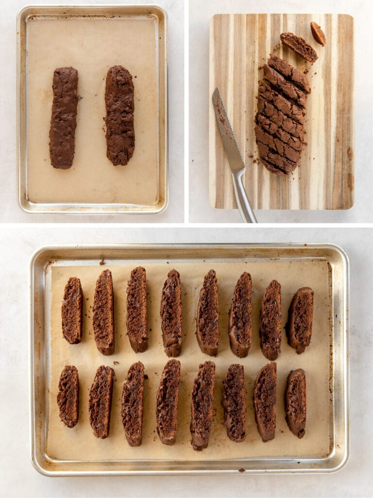 photo collage demonstrating how to shape and cut chocolate biscotti