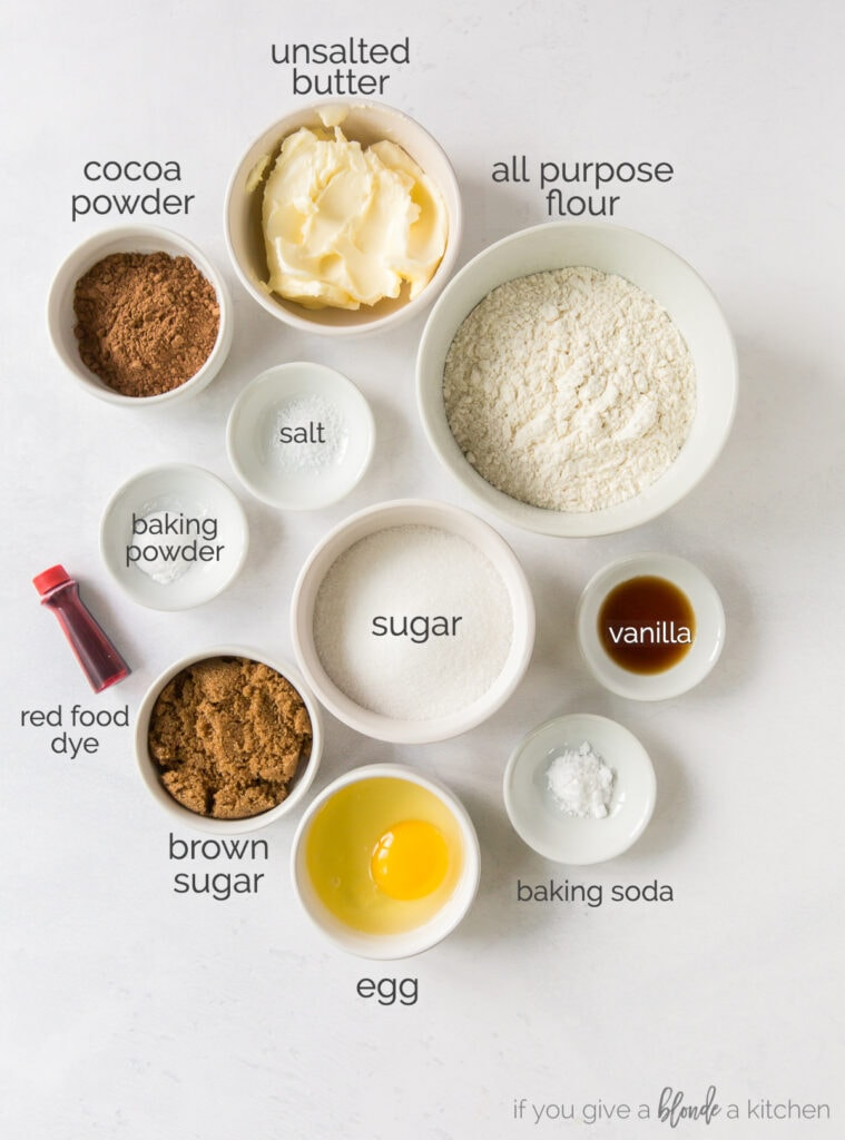 ingredients in bowls for red velvet sandwich cookies