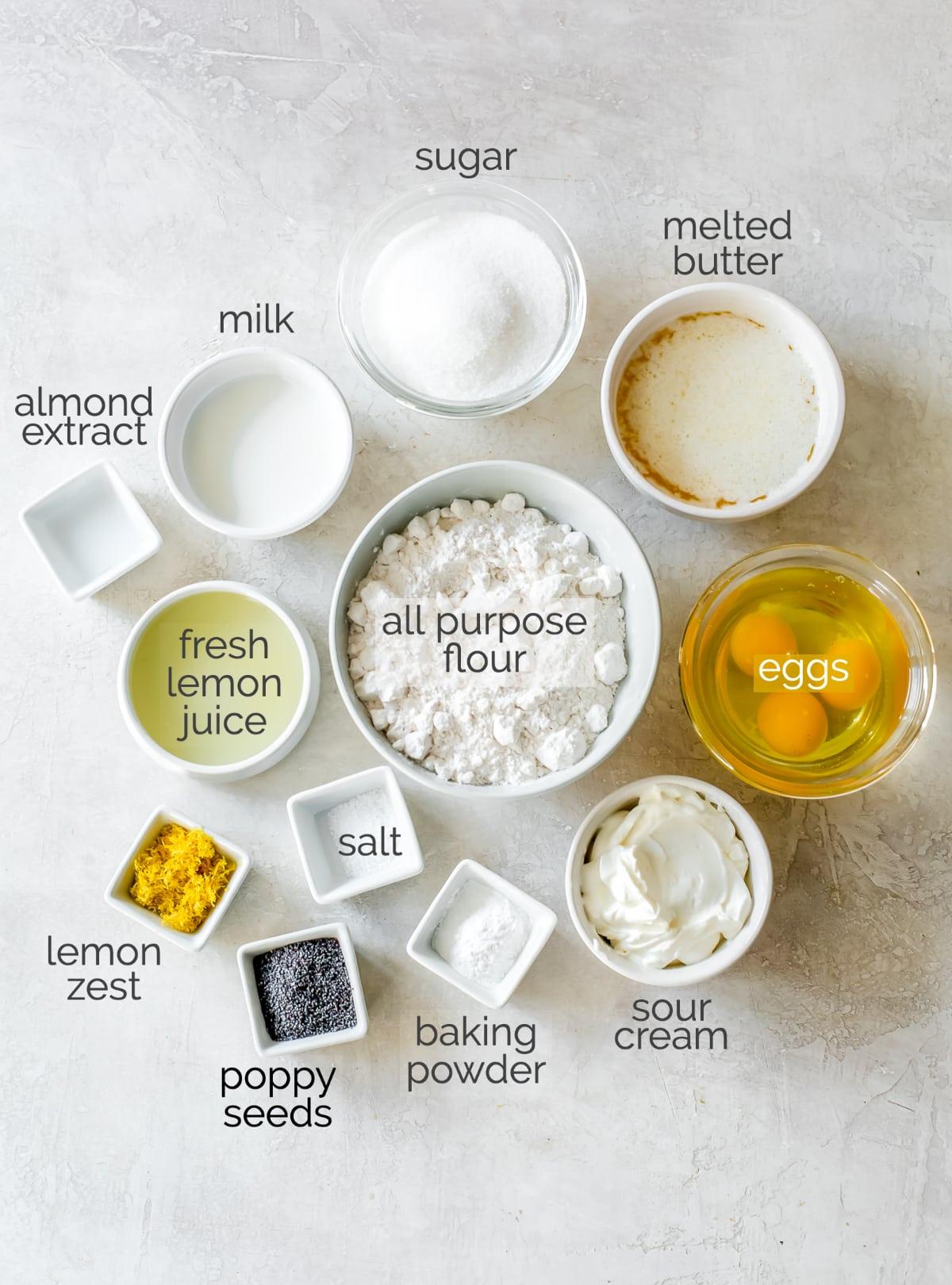 lemon poppy seed muffins ingredients in bowls