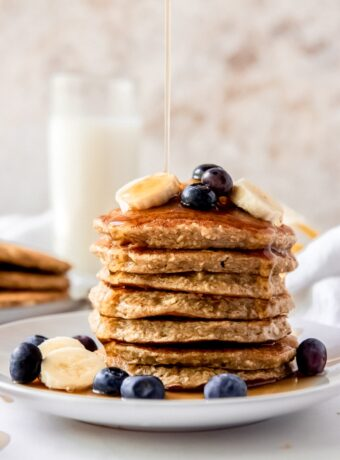 Banana Oatmeal Pancakes made in a blender