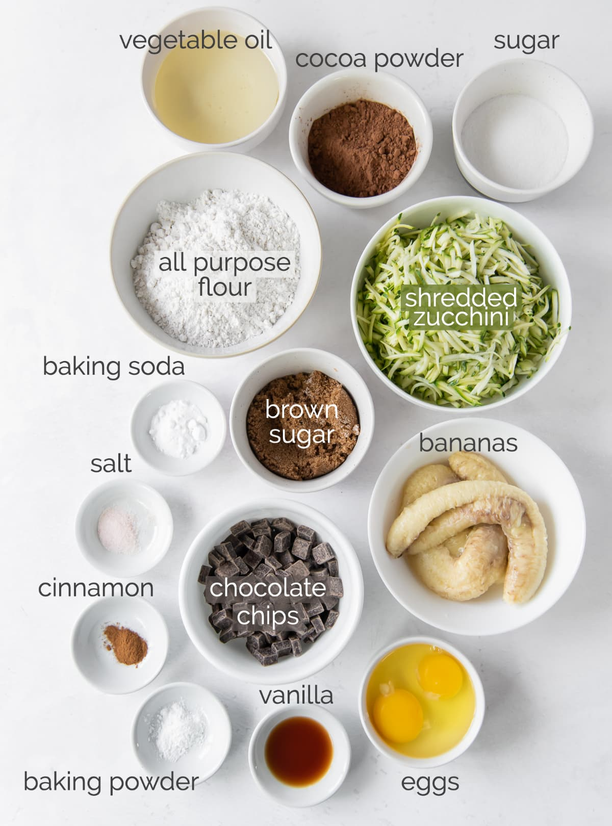 chocolate zucchini banana bread ingredients in bowls with text