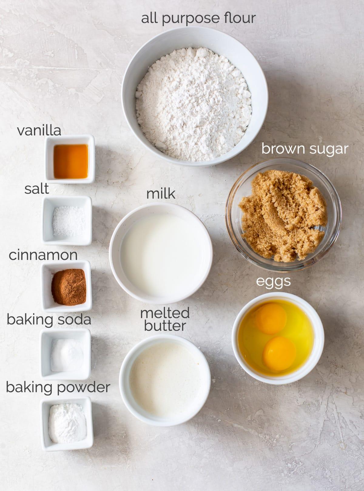 coffee cake ingredients in bowls
