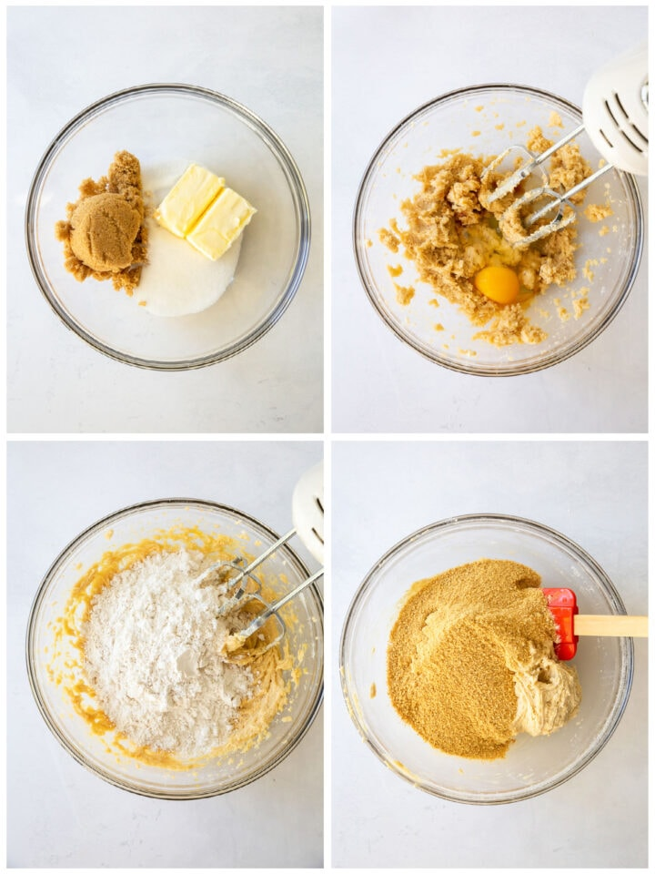 photo collage demonstrating how to make graham cracker dough for s'mores bars