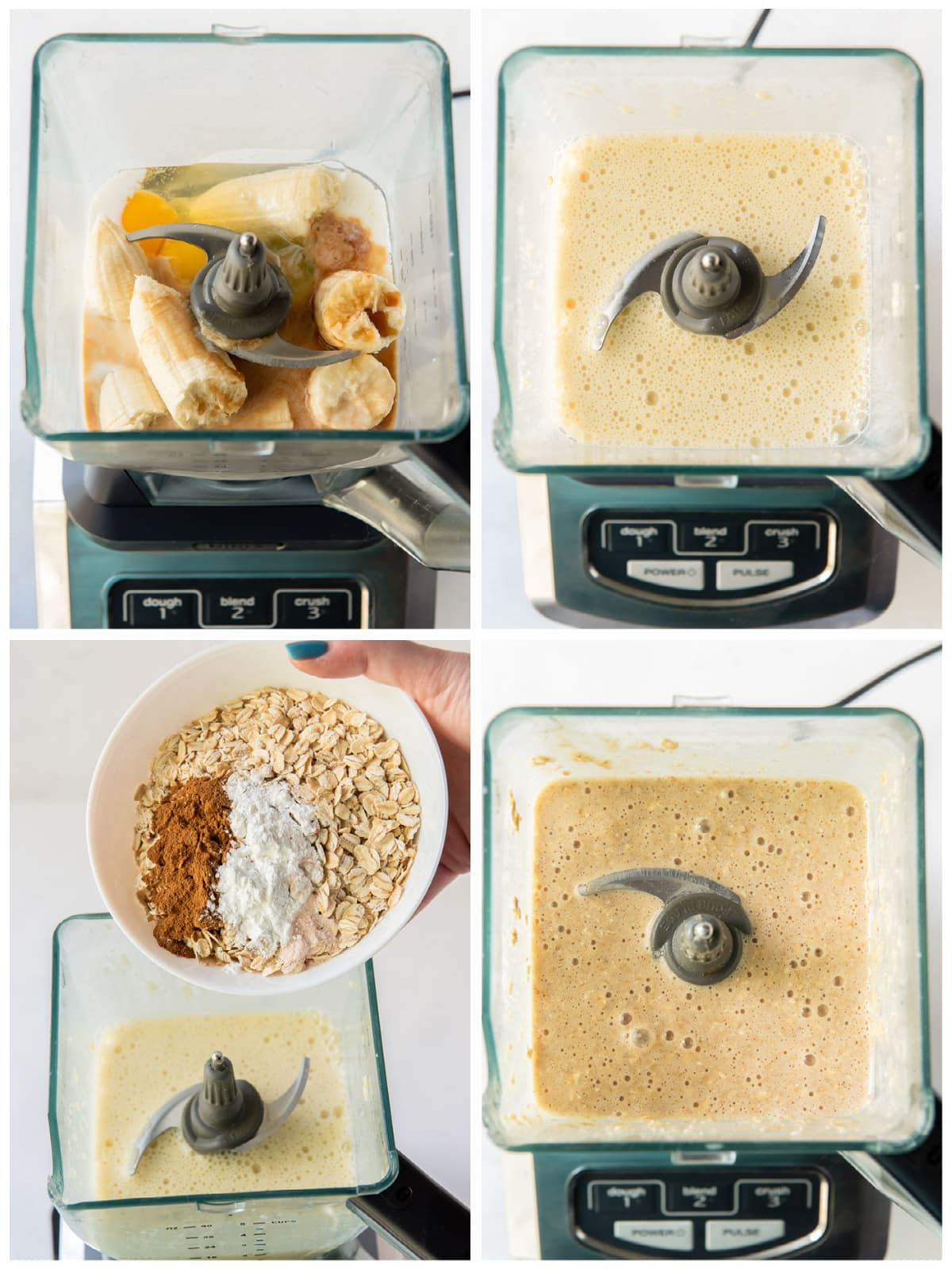 photo collage demonstrating how to make banana oatmeal pancake batter in a blender
