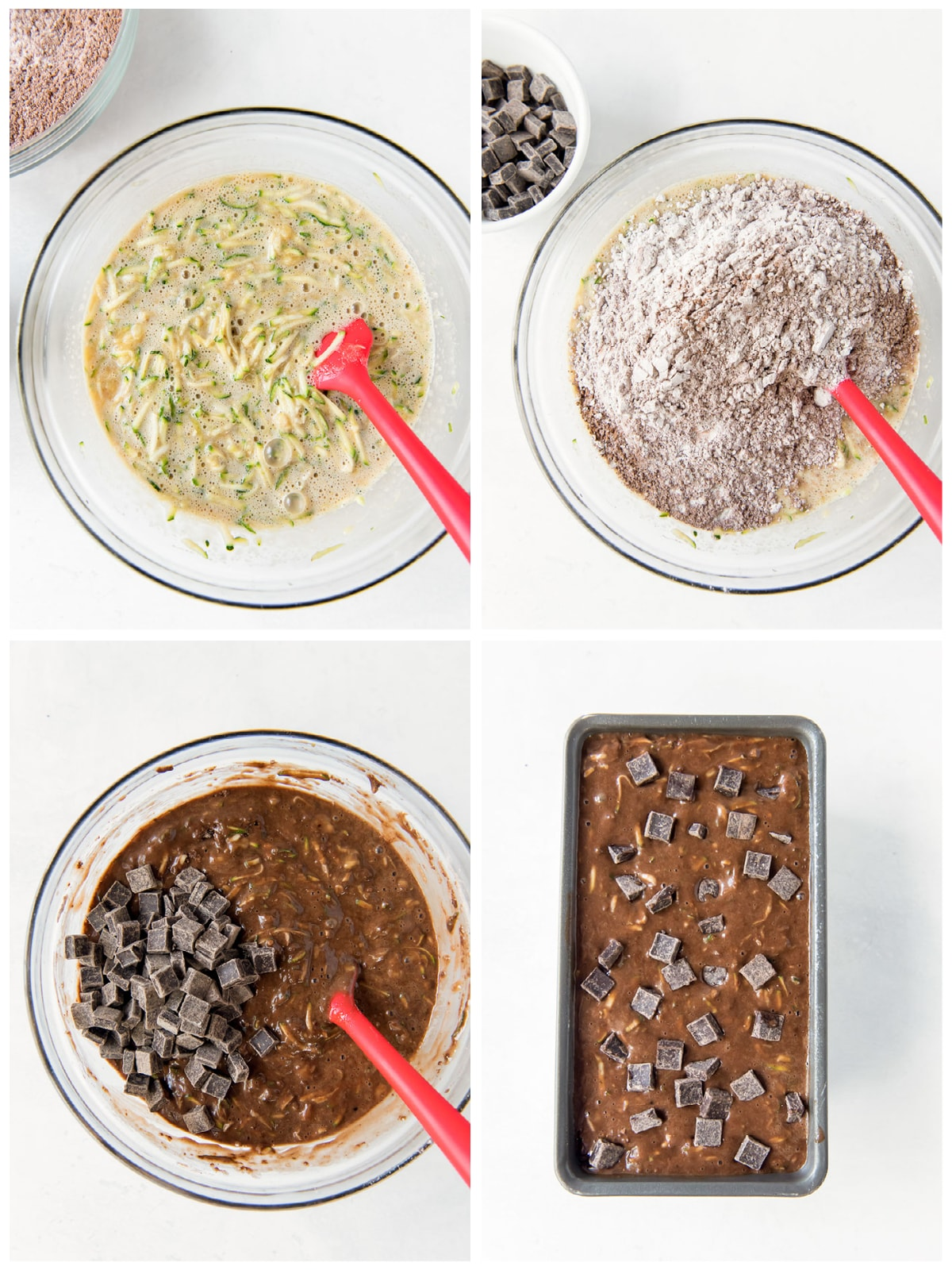 photo collage demonstrating how to make chocolate zucchini banana bread in a glass mixing bowl and loaf pan