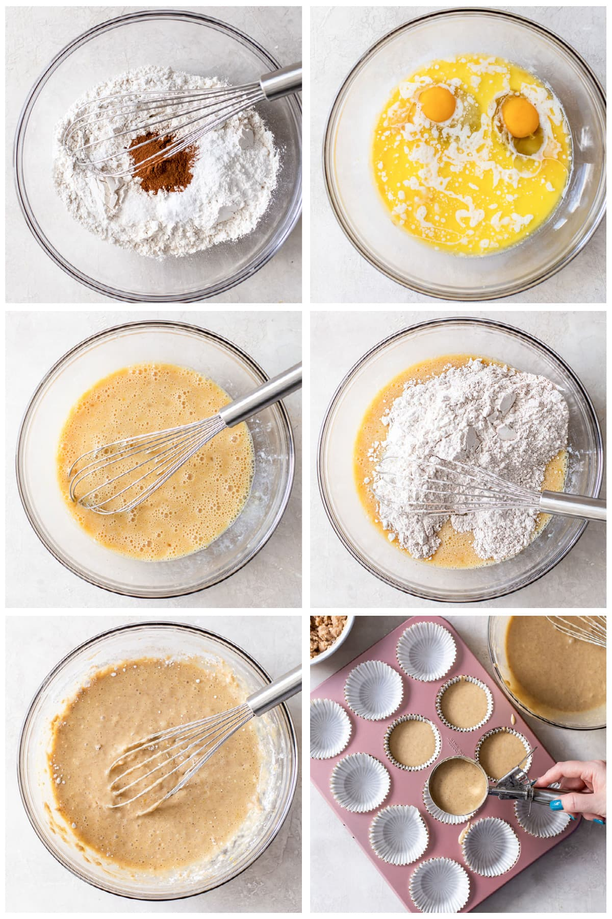 photo collage demonstrating how to make coffee cake muffins in a mixing bowls