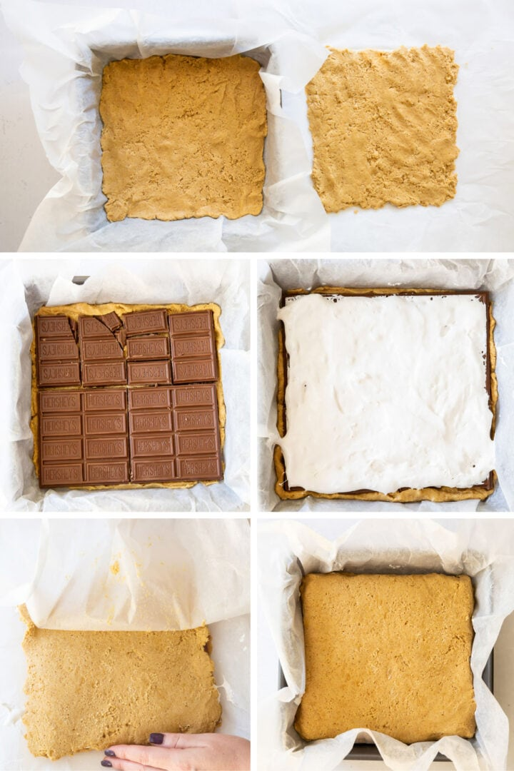 photo collage demonstrating how to assemble smores bars