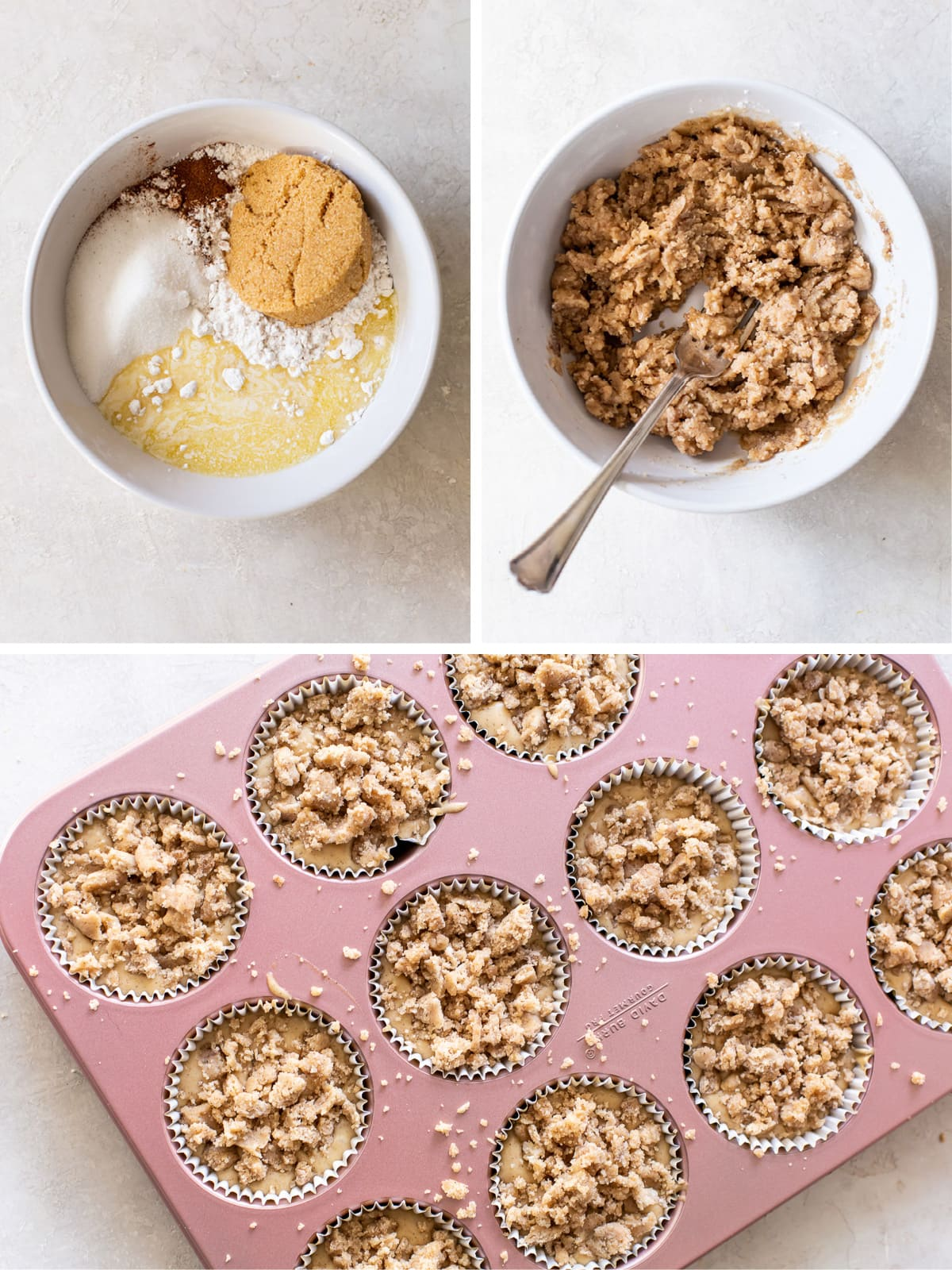 photo collage demonstrating how to make streusel for coffee cake muffins