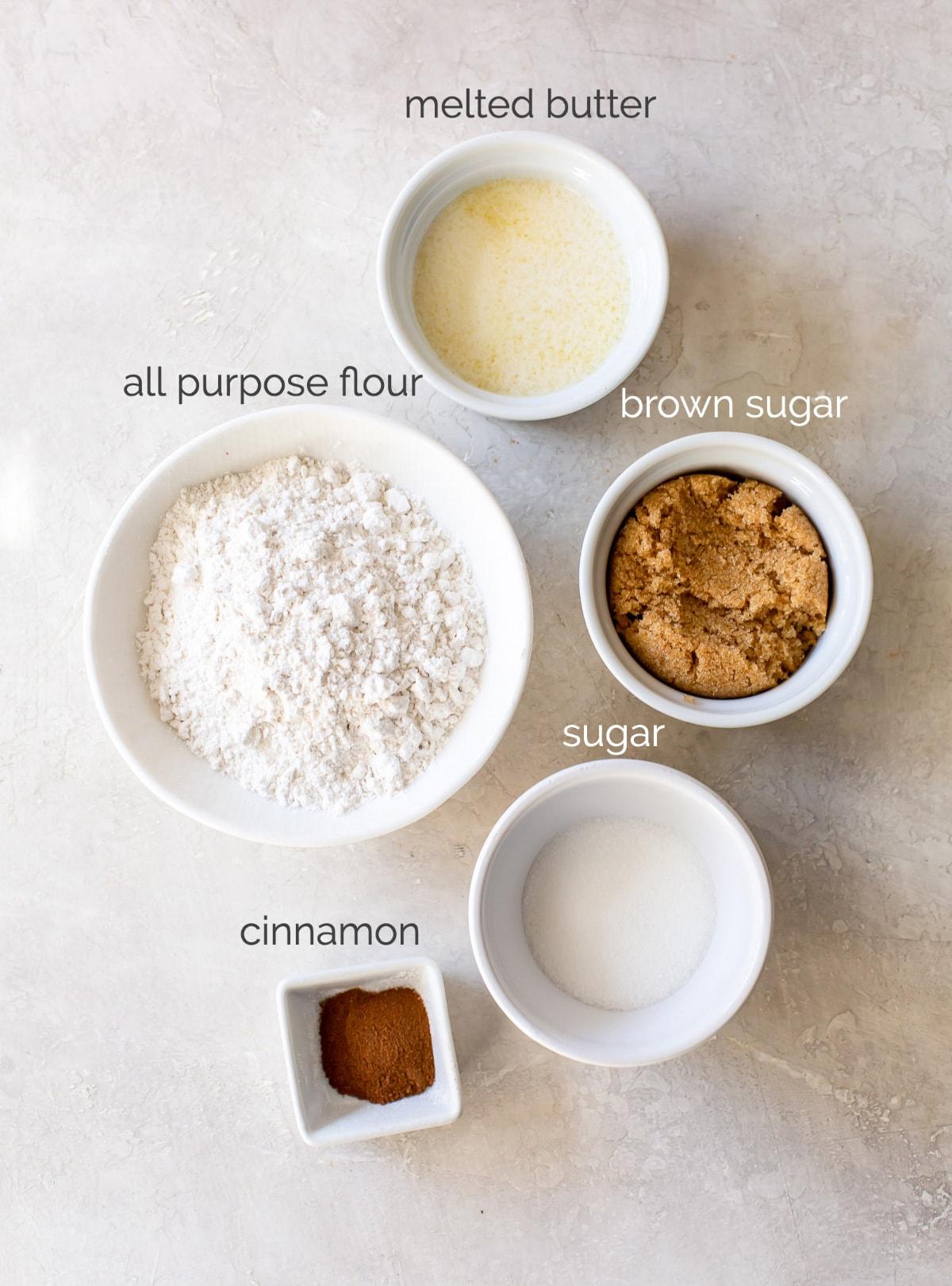 streusel ingredients in bowls