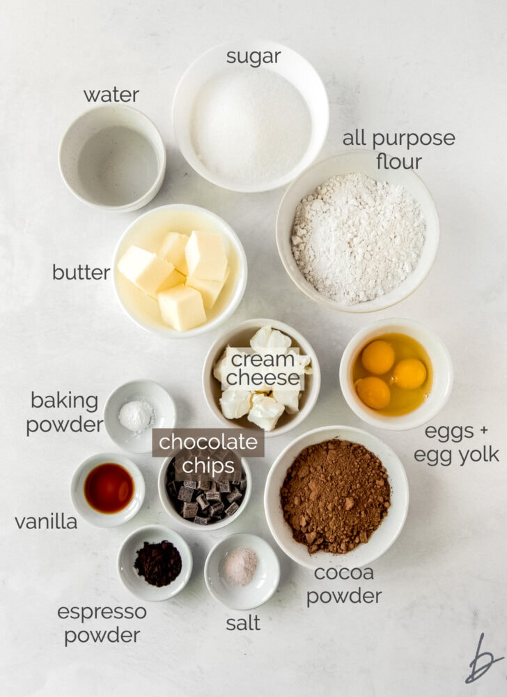 chocolate pound cake ingredients in bowls
