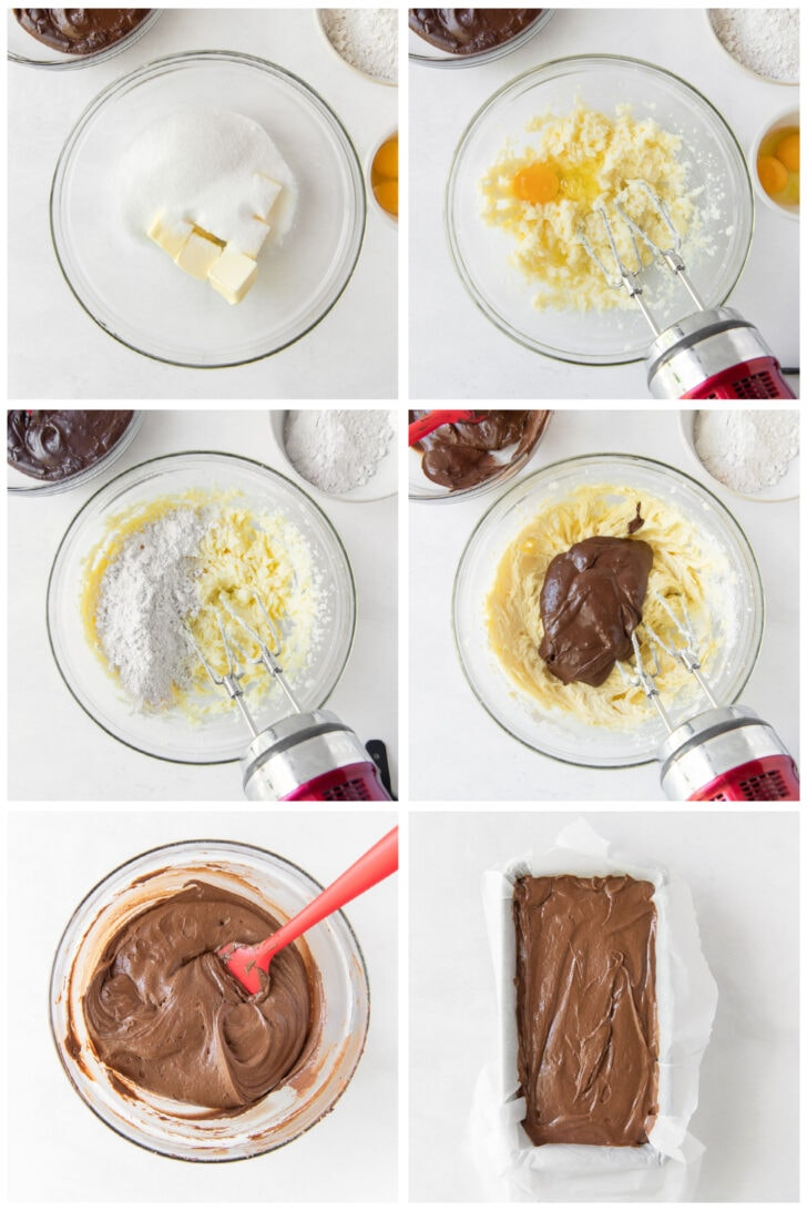 photo collage demonstrating how to make chocolate pound cake batter in a mixing bowl