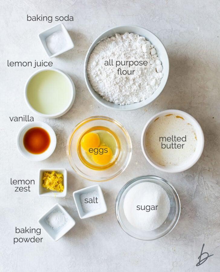 lemon crinkle cookies ingredients in bowls