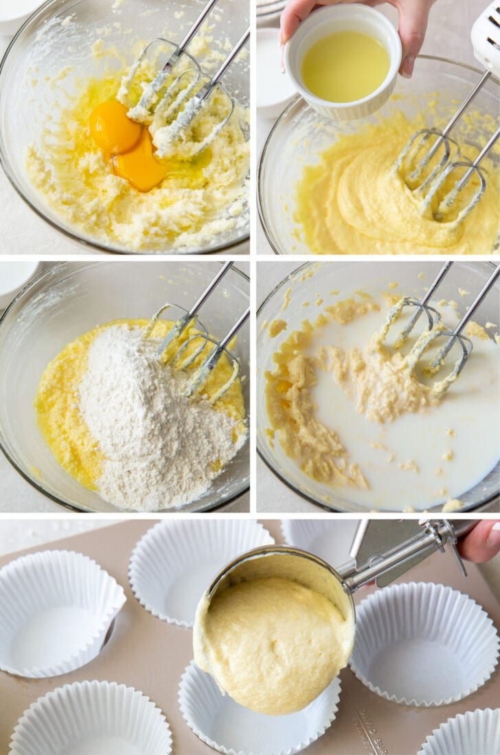 photo collage demonstrating how to make lemon cupcakes steps 5 through 9