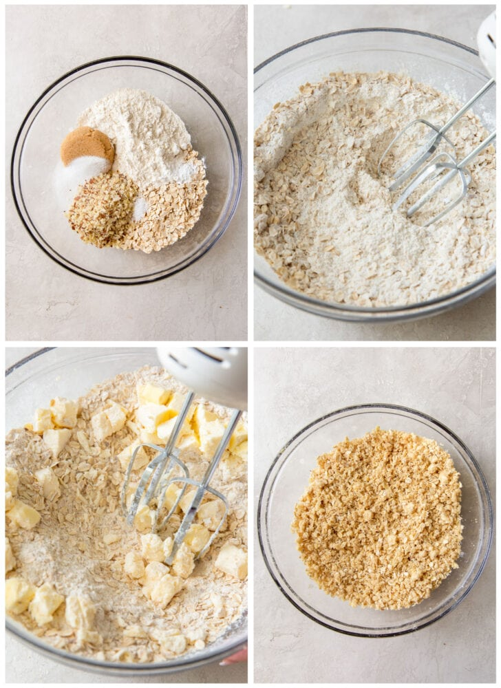 photo collage demonstrating how to make oat mixture for strawberry oatmeal bars