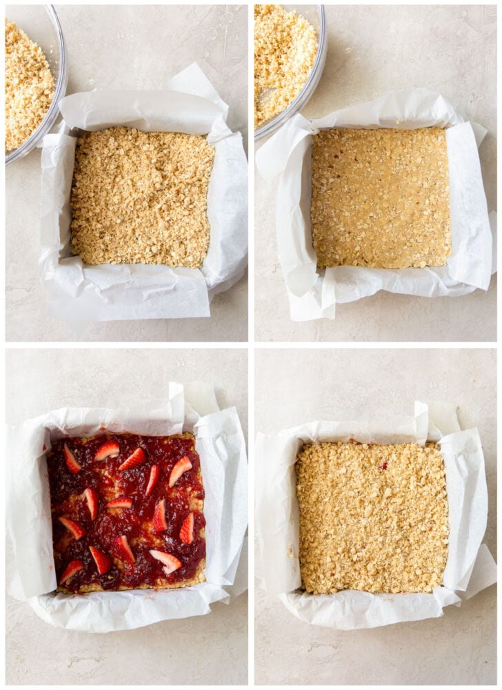 photo collage demonstrating how to layer crust, strawberry preserves and crumble topping for strawberry oatmeal bars