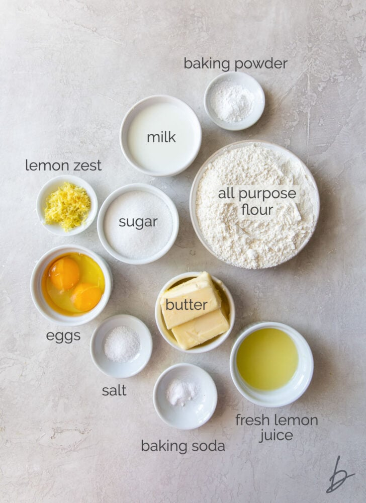 lemon cupcake ingredients in bowls labeled with text