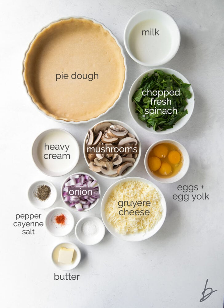 spinach mushroom quiche ingredients in bowls labeled with text