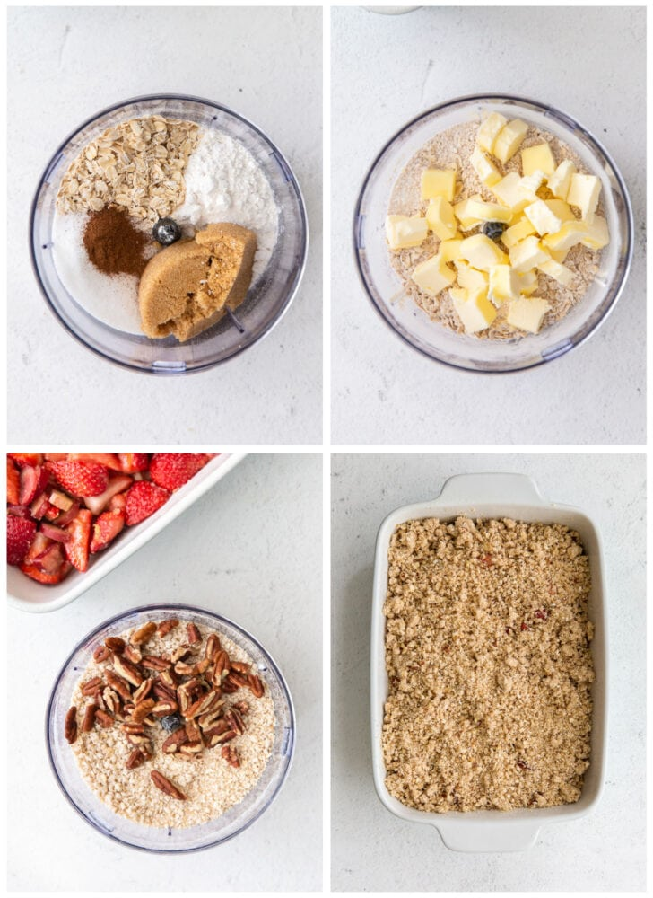 photo collage demonstrating how to make crisp topping for strawberry rhubarb crisp