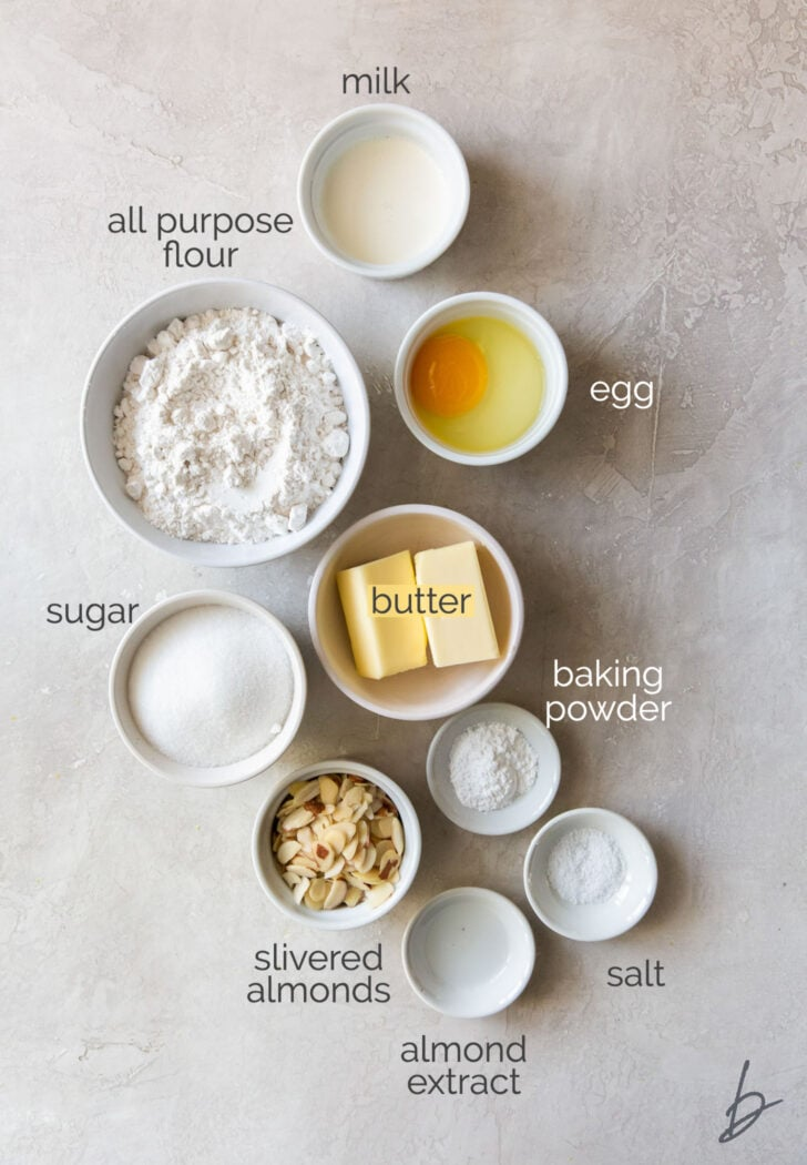 scandinavian almond bars ingredients in bowls labeled with text