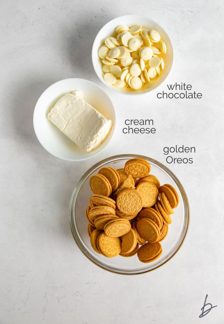 golden oreo truffle ingredients in bowls labeled with text