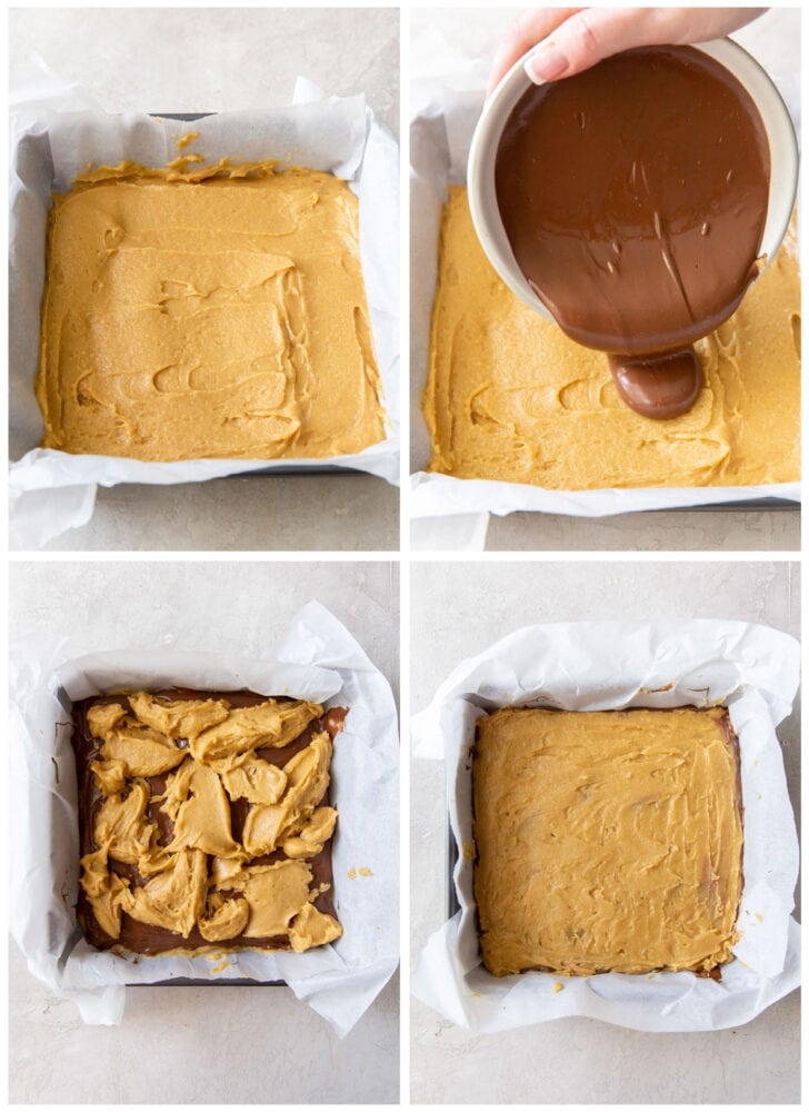 photo collage demonstrating how to layer nutella blondies in an 8x8 baking pan