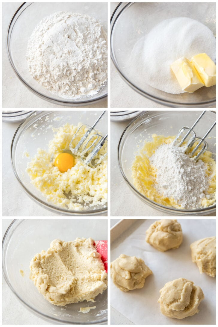 photo collage demonstrating how to make almond bar dough in a glass mixing bowl