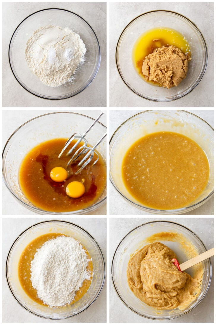 photo collage demonstrating how to make nutella blondie batter in a mixing bowl