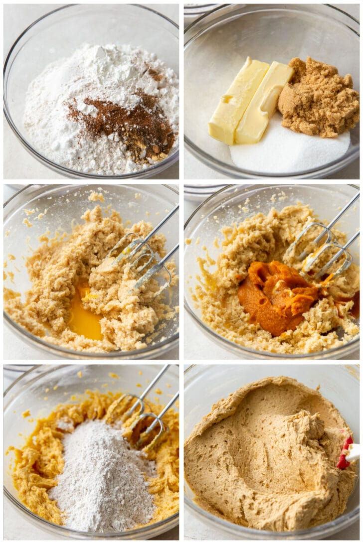 photo collage demonstrating how to make pumpkin snickerdoodle cookie dough in a mixing bowl