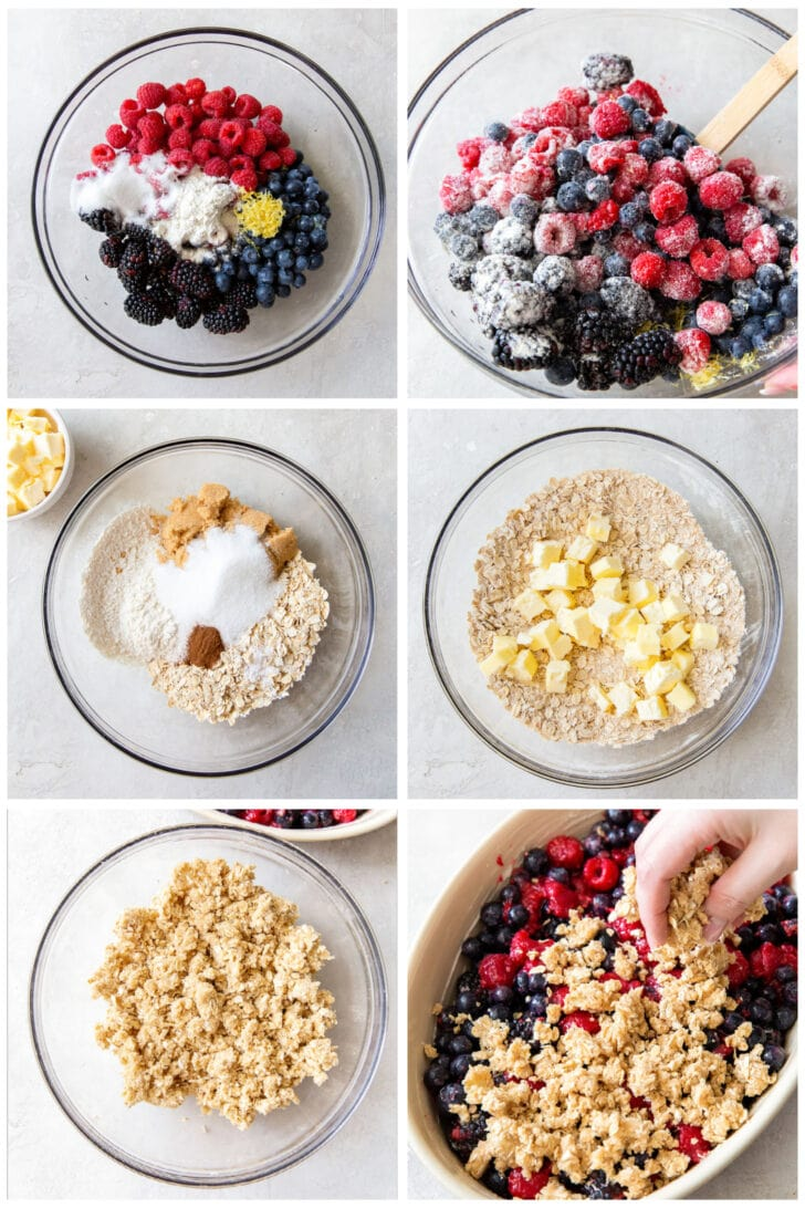 photo collage demonstrating how to make triple berry crisp filling and topping