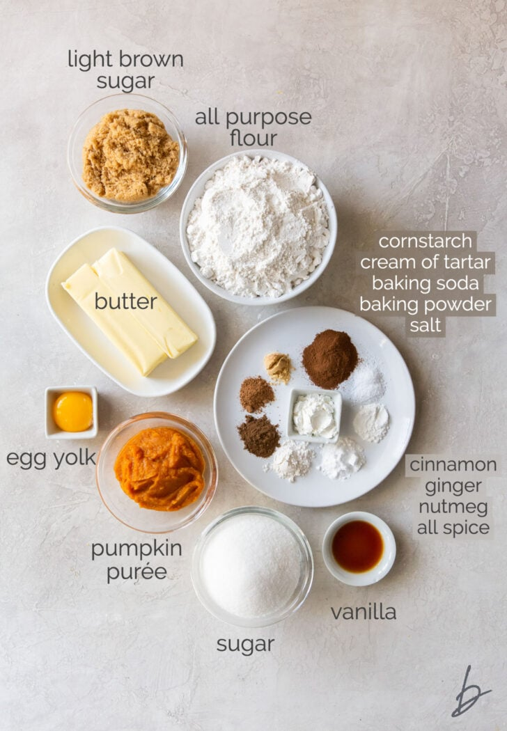 pumpkin snickerdoodle ingredients in bowls labeled with text