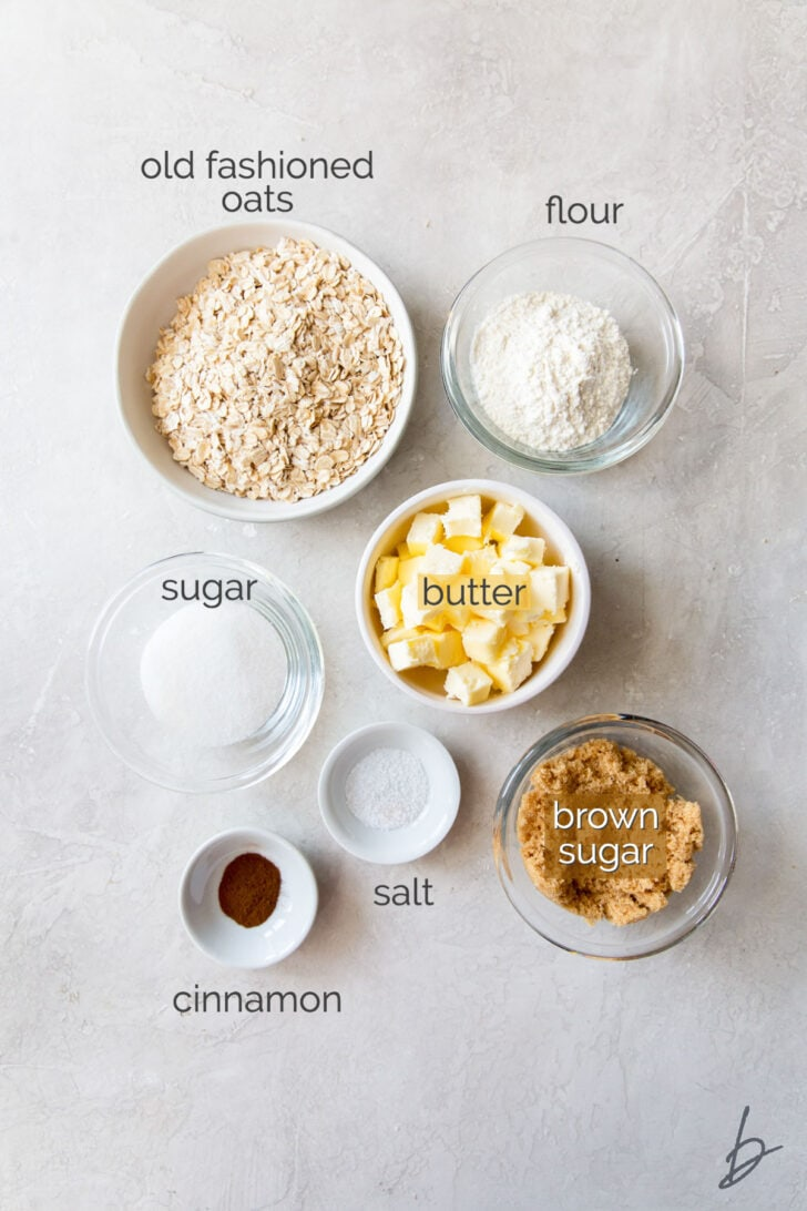 triple berry crisp topping ingredients in bowls labeled with text