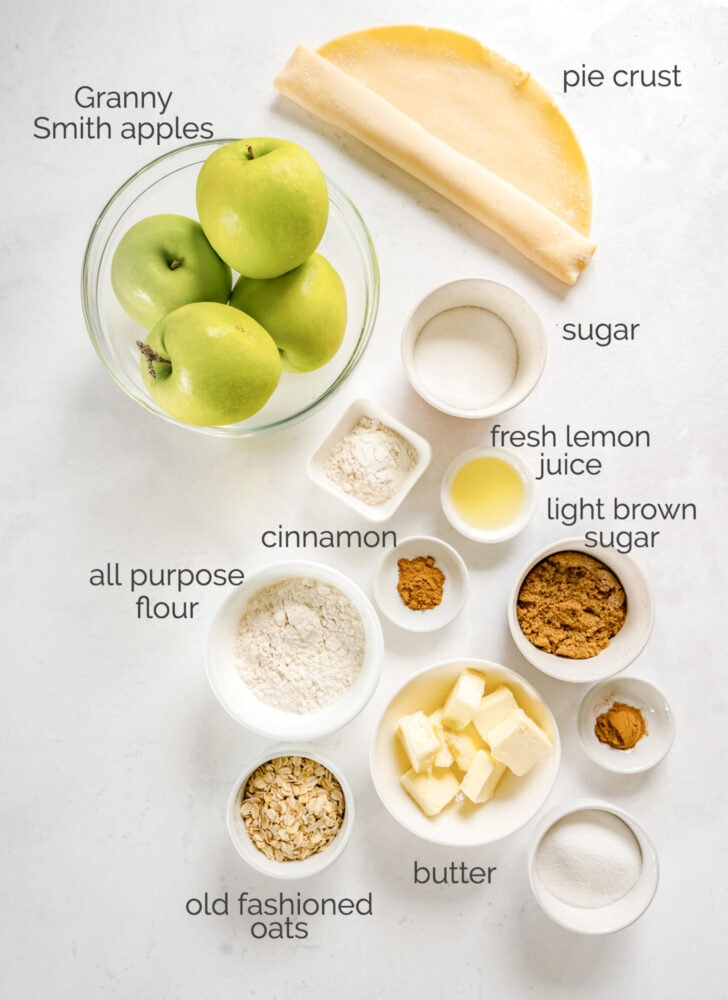 apple crumble pie ingredients in bowls labeled with text