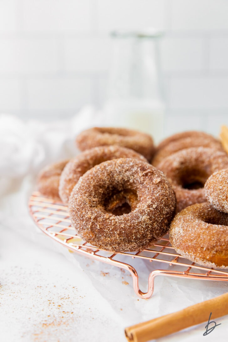 cinnamon sugar coated baked pumpkin donuts on wire cooling rack