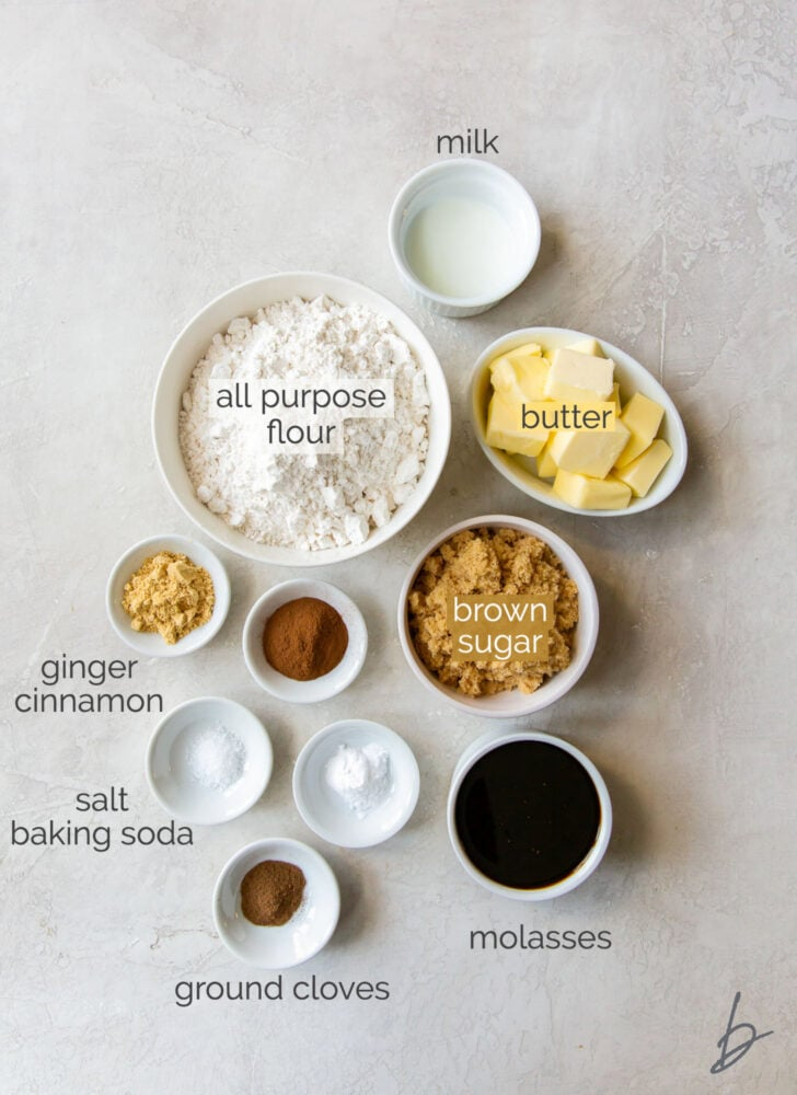 gingerbread man cookie ingredients in bowls labeled with text