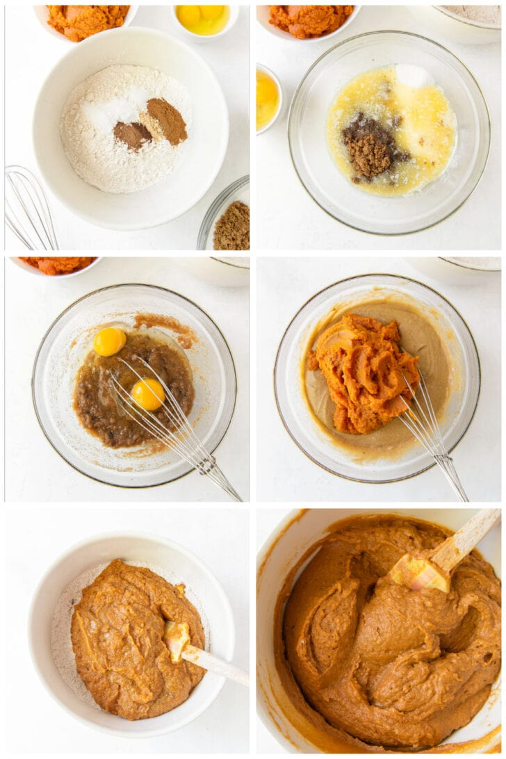 photo collage demonstrating how to make pumpkin donut batter in a mixing bowl